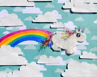 Chubby Unicorn Farting a Rainbow, Cute Collage Art Print