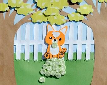 Shiba Inu Dog with Tennis Balls Collage Art Print