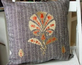 Linen pillow cover embroidered with Ottoman carnation design