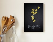 """12"""" x 8"""" Photo Block: Still Life Photograph of Farfalle Pasta, Mounted on Bamboo Panel, Wall Art for your Kitchen, Food Photography"""