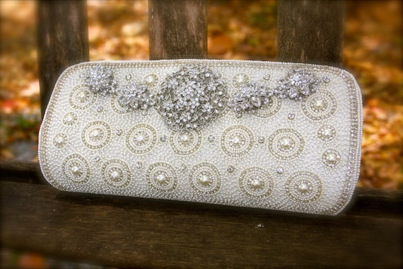 bridal clutch  evening bag with rhinestone  brooches can be a great gift for her bridal shower