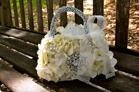 flower girl basket or floral handbag for the flower girl
