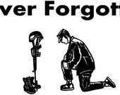 Never Forget Praying Soldier - Car Decal - 50% of the Proceeds will go to the Wounded Warrior Foundation
