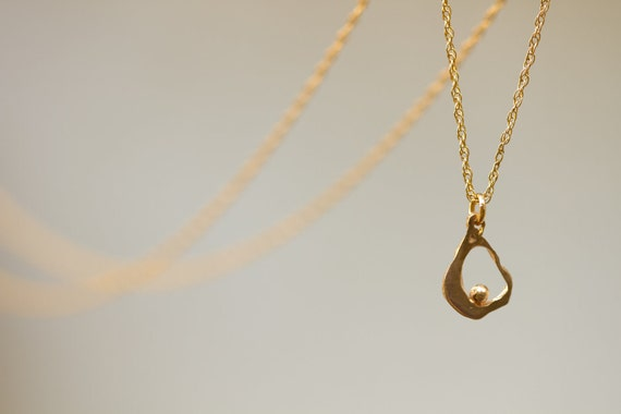 gold necklace. Valentine's day gift.  a-symmetric- natural style- delicate  24k gold plated brass pendant on gold-filled chain.
