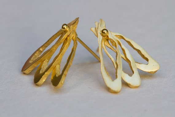 """Gold stud earrings. Big studs. Statement earrings. Golden """"wings"""" earrings- made of 18k gold plated silver-handmade- natural style."""