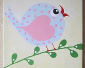 Hayley Bird on a branch...Handpainted Acrylic Painting on a 8x10 inch canvas ...for Kids nursery or playroom