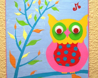 WISE OWL...Hand-painted Acrylic Painting on Canvas - for Kids nursery or playroom ...includes a 8 x 10 canvas