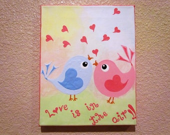 SALE Priced...Birds in LOVE...Handpainted Acrylic Painting on Canvas ...measuring 8 x 10 inches