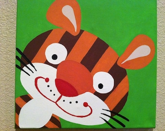 Cute TIGER ...Handpainted Acrylic Painting on Canvas ...for Kids nursery and/or playroom ...on a 12 x 12 canvas