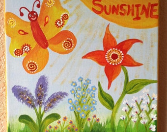 """YOU are my SUNSHINE painting ...handpainted acrylic painting on canvas ...for kids nursery ...gallery mounted canvas measures 8""""x10"""""""