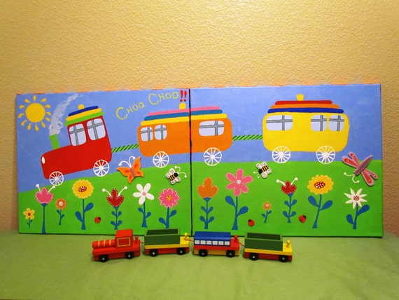 "Choo Choo Train: Hand-painted Acrylic Painting on Canvas - for Kids nursery and/or playroom - set of TWO 16"" x 20"" canvases"