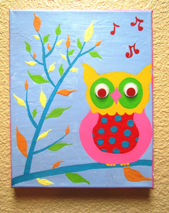 WISE OWL...Hand-painted Acrylic Painting on Canvas - for Kids nursery ...