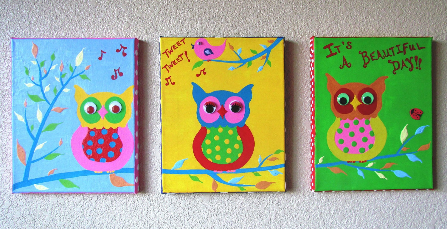 Cute owl paintings on canvas images for Teaching kids to paint on canvas