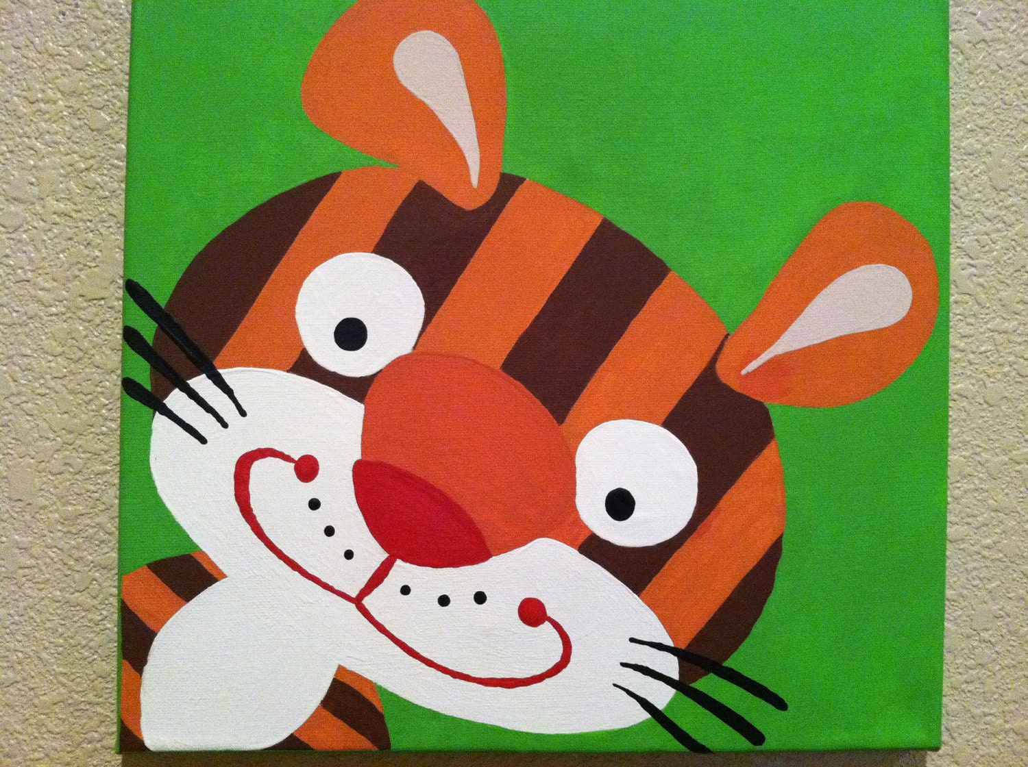 cute tiger handpainted acrylic painting on canvas for