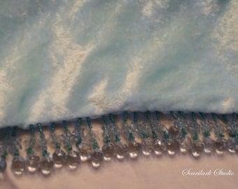 Ice Blue Beaded Scarf