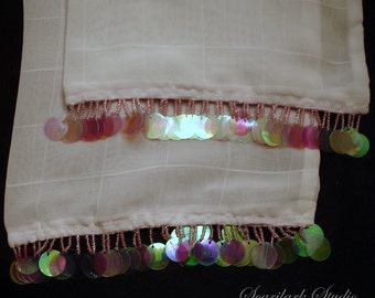 White Scarf with Pink Beading