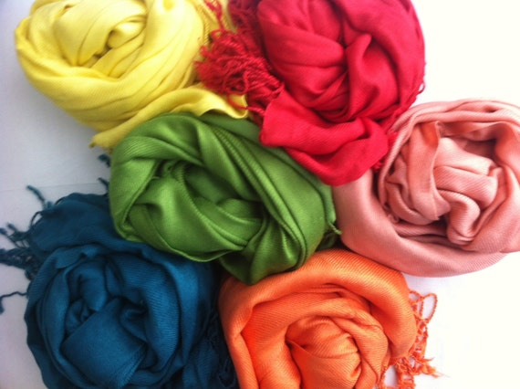 6 PASHMINA SHAWL.You can choose Any Color !!!!. Wedding Favors. Scarf. Pashmina Shawl. Bridal Shawl. Bridesmaid shawl. Bridesmaid gift.
