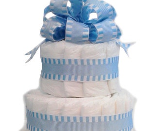 2 Layer Blue - Classic Pastel Baby Shower Diaper Cake