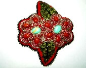 Red and Turquoise Hand Beaded Brooch