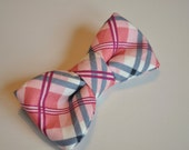 Boys pre-tied bow tie, Pink and Navy Plaid