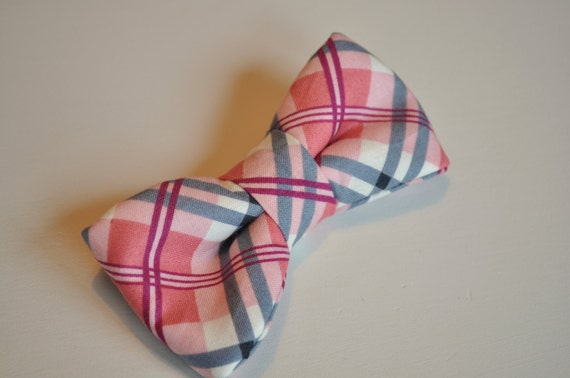 LIMITED QTY! Boys pre-tied bow tie, Pink and Navy Plaid