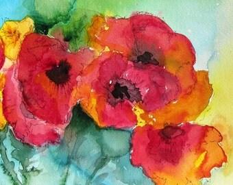 Blank Notecard - Poppies I