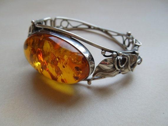 Artisan Sterling Silver and Amber Bangle Bracelet