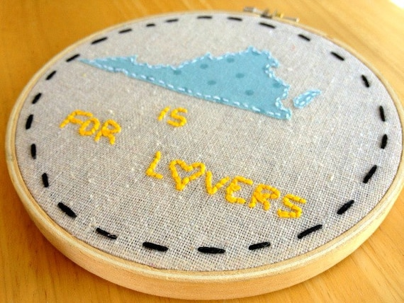 Hand Embroidered Wall Art - Virginia is for lovers.