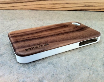 IPHONE 4 and 4s CASE , real wood rich polished EXOTIC black walnut  back ,sharp looking white edge