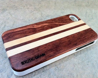 IPHONE 4 and 4s CASE hand polished exotic ROSEWOOD and maple  back ,real wood,white sharp looking edge