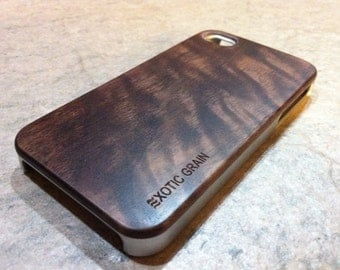IPHONE 4and 4s  CASE exotic black walnut wood,real wood, silver sharp  looking edges