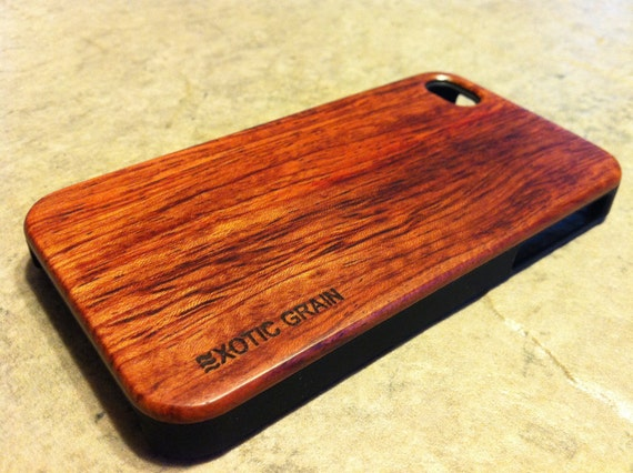 IPHONE 4 and 4s CASE , real wood rich polished EXOTIC rosewood ,sharp looking black edge