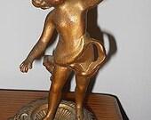 Gold  Tone Metal Cherub Figure Vintage