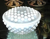 HOBNAIL Vintage Opalescent Covered Powder Dish