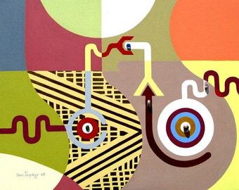 "Pop Art Cubism illlustration Art  - Abstract Geometric Painting on Canvas Destiny - 22"" X 28"""