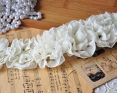 Off White Pleated Chiffon Wedding Dress Lace Trim DIY Fabric Crafts Hat Shoes Cloth Alterations Costume Supplies Fashion and Grace