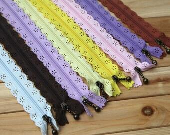 Lace Zippers Supplies Trim DIY Fabric Crafts Alterations Supplies Handmade Fabric Supplies 9 inchs Long 5 pcs