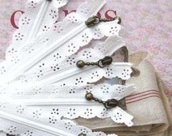 White Lace Zippers Supplies Trim DIY Fabric Crafts Alterations Supplies Handmade Fabric Supplies 9 inchs Long 5 pcs