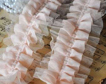 Pink Pleated Mesh Lace Trim Fabric Bridal Dress Alterations DIY Fabric Crafts Supplies Bridal Dress Fabrics Grace and Fashion
