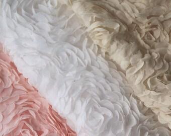 3D Rosette Fabrics Chiffon Lace Wedding Dress Fabric Supplies Costume Photograph Back drop Dress Lace