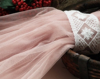 Flesh Pink Lace Fabric Mesh Gauze Mesh Lace for Home Decor Costume Altered Couture Veil Headband Supplies
