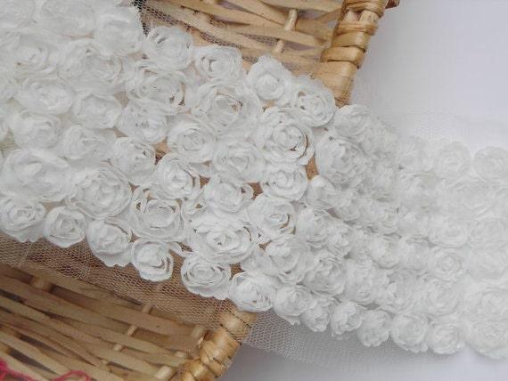 3D White Bridal Chiffon Rose Wedding Lace Trim Grenadine Mesh 6 Rows Trim Alterations DIY Fabric Crafts Supplies 4.3'' Wide 1 Yard