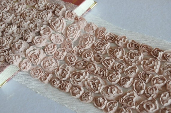Light Tan Bridal Rose Wedding Lace Trim Grenadine Mesh 6 Rows Costume Hat Handbag Supplies Trim Alterations DIY Fabric Crafts Supplies 4.3''