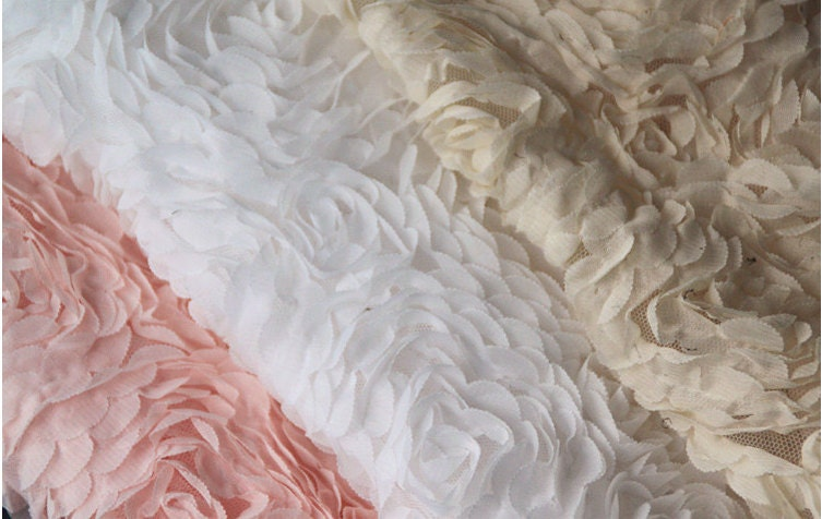 3d rosette fabrics chiffon lace wedding dress fabric by