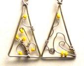 Wire wrapped earrings dangle yellow daffodil flowers earrings bird triangle earrings spring scene earrings women teen fashion jewelry