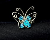 Wire wrapped butterfly ring, aquamarine blue crystal ring, women teens fashion jewelry