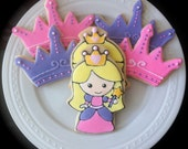 Decorated Princess characters and Tiara/Crown Cookies, Perfect for a princess birthday party