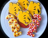 Winnie the Pooh decorated character and number cookies