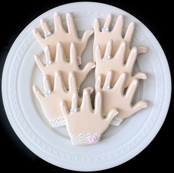 Items Similar To Decorated Engagement Ring Hand Cookies