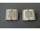 Whiting And Davis silvertone and creme large square enamel deco earrings